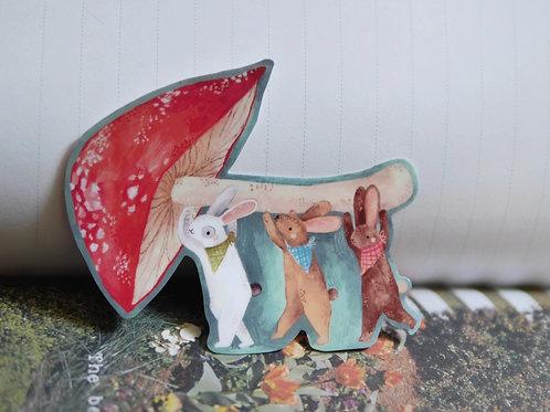 Mushroom Rabbits Vinyl Sticker