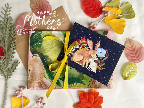 Mothers' Day Tea Towel & Postcard Set