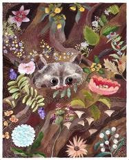Raccoon in bloom