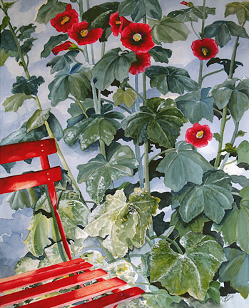 Red Chair with Hollyhocks