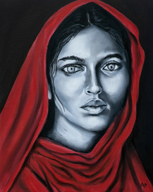 North Indian Woman painted in Black and White