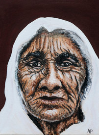 Old lady in a White Sari