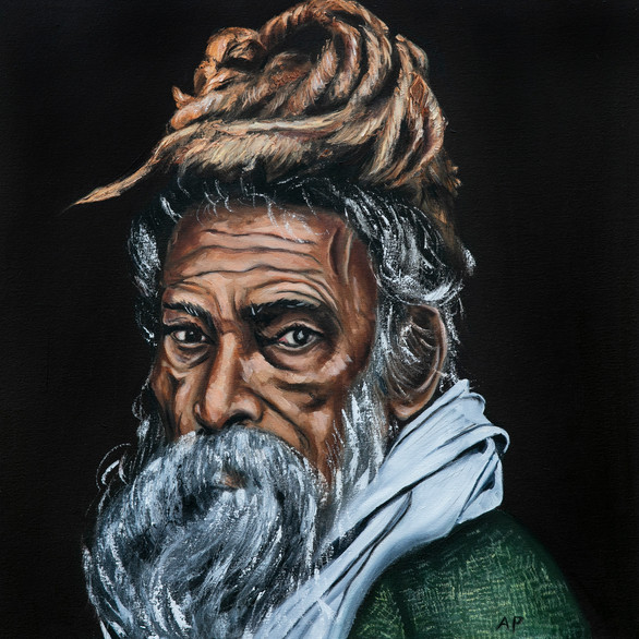 Indian Sadhu in a Green Coat