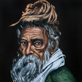 Indian Sadhu in a Green Coat