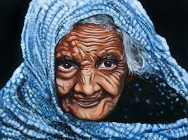 Old Woman in a Blue Sari
