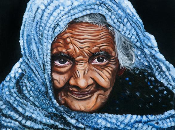 Old Woman in a Blue Sari