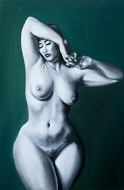 Woman Standing painted in Black and White