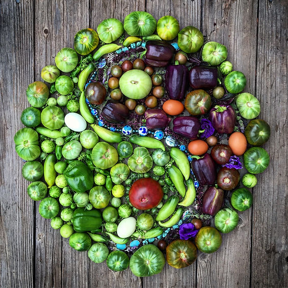 Beautiful Yin Yang symbol food art made at Carmel Bella Farm