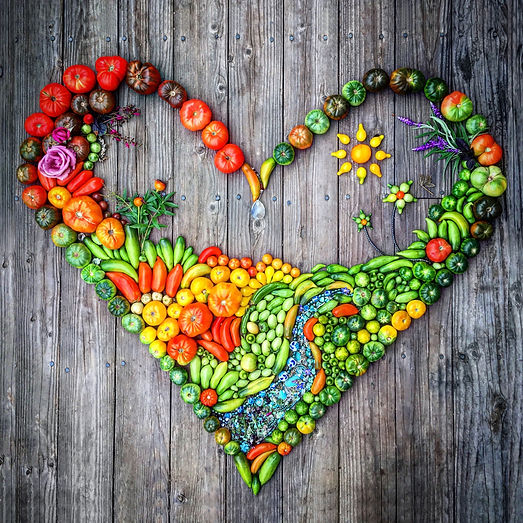 Beautiful food art heart made at Carmel Bella Farm