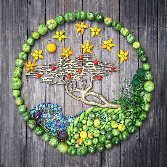 Beautiful Tree of Life food art made at Carmel Bella Farm