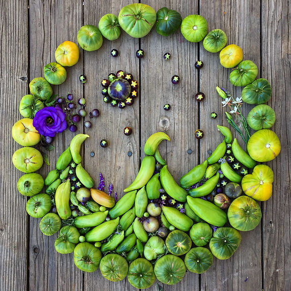 Beautiful heirloom tomato heart food art made at Carmel Bella Farm