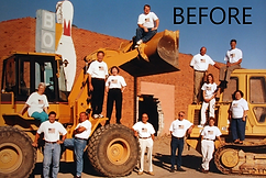 BEFORE - Kevin on back hoe with IDG crew