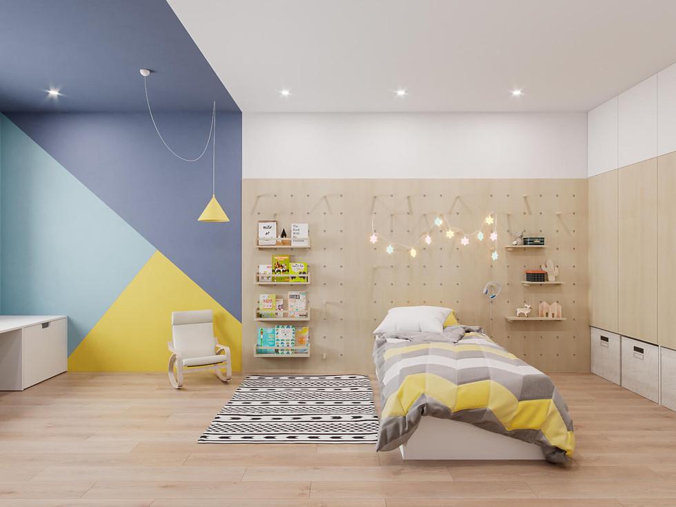 Вид на ліжко у дитячій кімнатіjpg