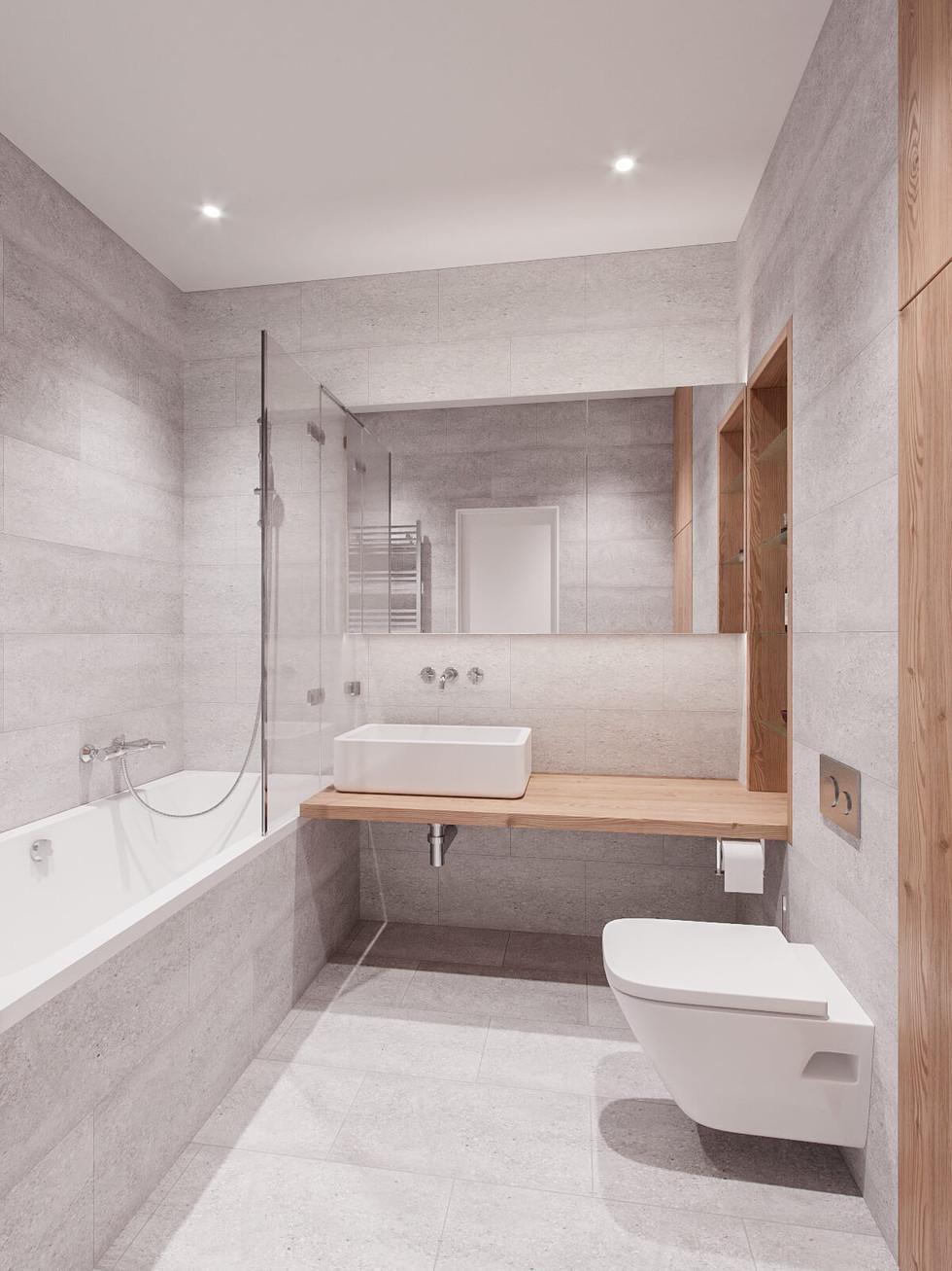 Вана кімната сірого кольору з елементами дерева.jpg