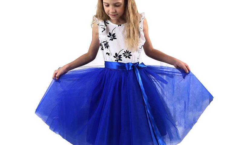 band Chiffon Kids Ball Gown Girls Clothes Children Clothing