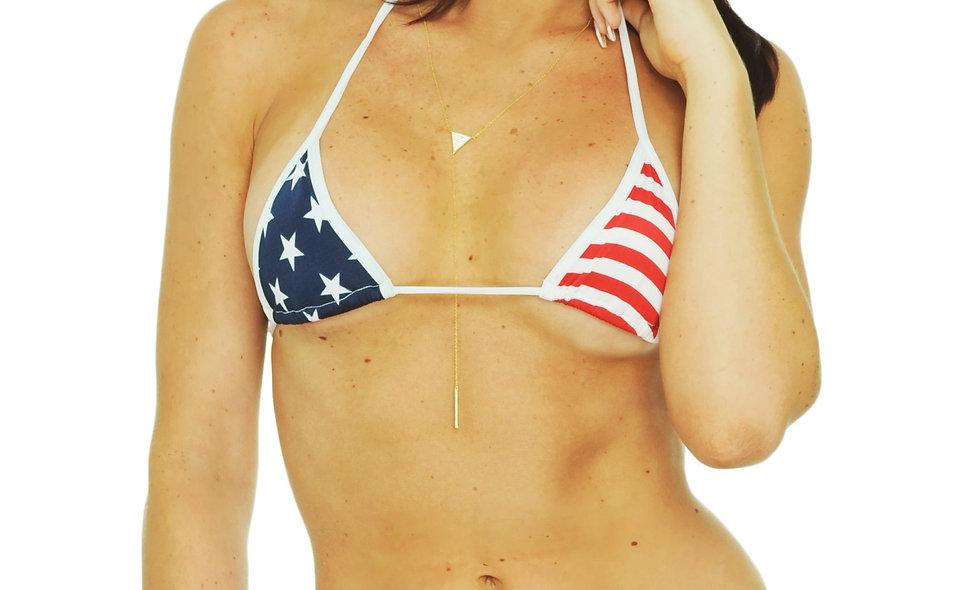 Women's Made in USA Juniors Bikini USA Flag Micro Thong Only Swimwear