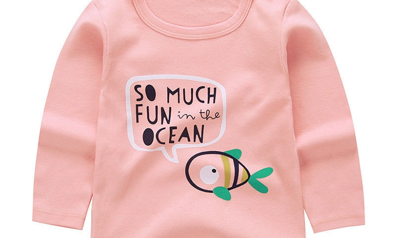 Long Sleeve Tops Animal Appliques Kids T-Shirts for Girl Sweatshirt