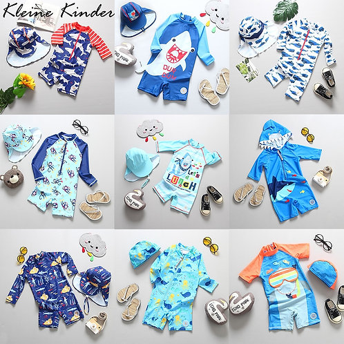 One Piece Swimsuit Cap Set Children Swimming Suit Toddler Boys Beach Wear