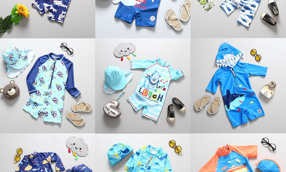 One Piece Swimsuit Cap Set Children Swimming Suit Toddler Boys Beach Wear