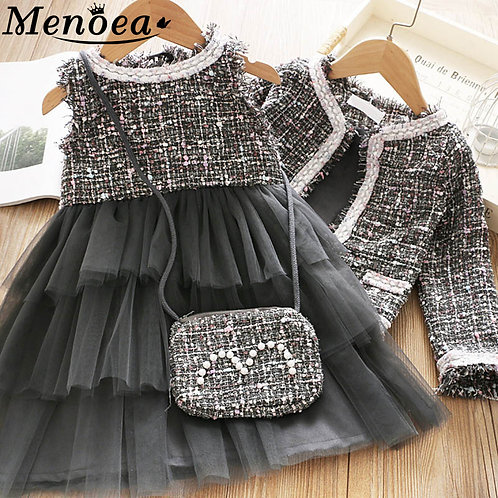 Cute Girl Outfit Children Woolen Clothing Sets