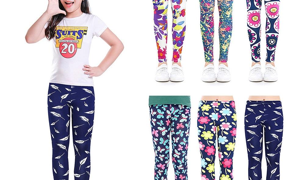 Kids Trousers Print Flower Skinny Children Leggings for Girls