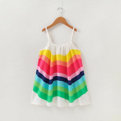 Rainbow Dresses Clothes Kids Girl Cotton Princess Dress Outfits