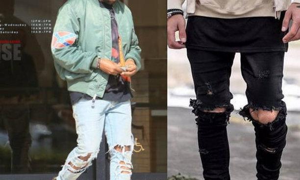 Camouflage Jeans Denim Pants Fashion Brand Swag Hole Biker Jeans