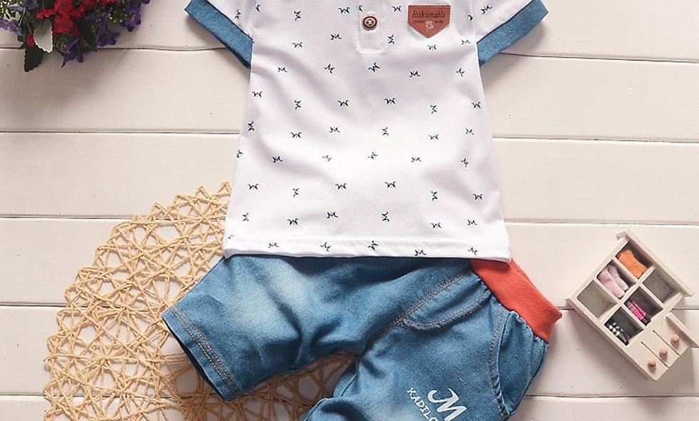 Shorts Trousers Set Children Boys Cartoon Printing Tops Solid Pants