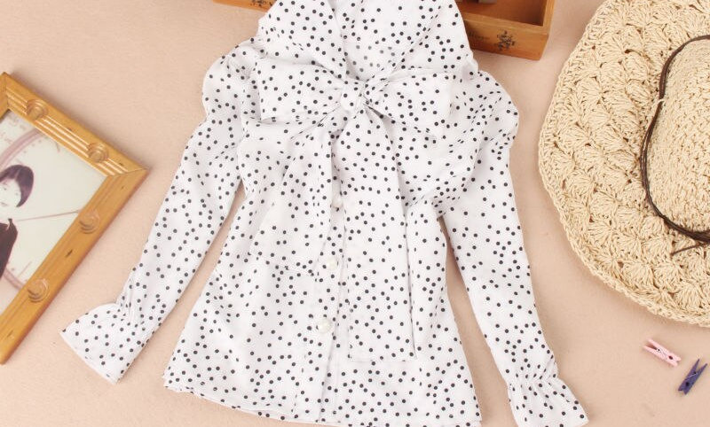Children Clothing School Girl White Dot Shirts Bow Patten Clothes