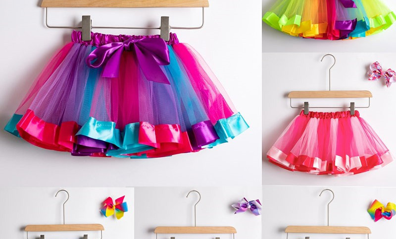 Rainbow Tulle Skirts Girls Clothes Children Clothing