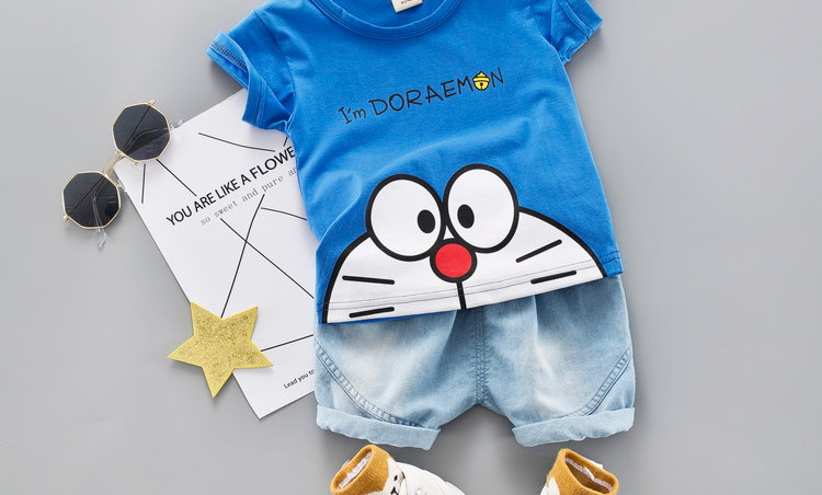 Jeans Children Clothing Short Sleeve Shirt Boys Suit Baby Tracksuit