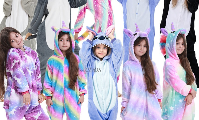 Girls Boys Stitch Pajamas Onesies Hoodied Sleeper Clothes