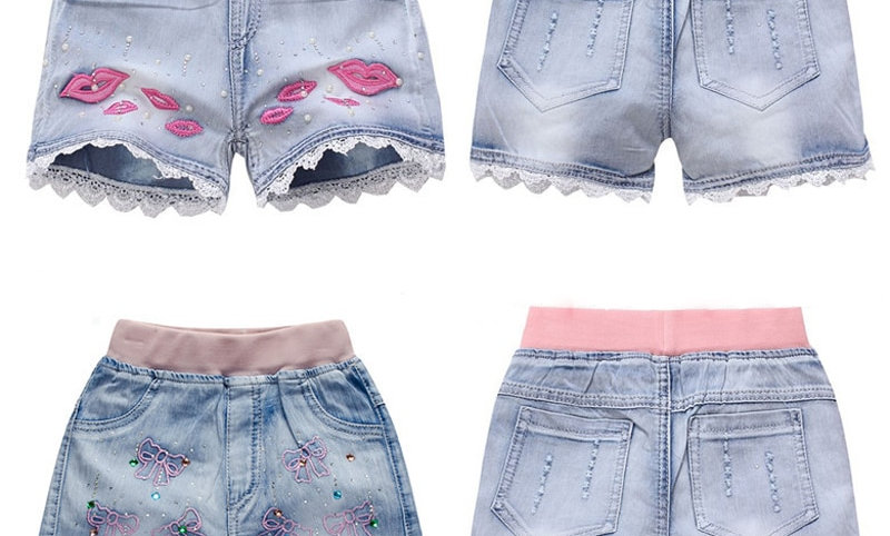 Clothes Children Flowers Embroidery Jean Short for Teenager
