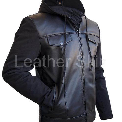 Men Black Hood Leather Jacket