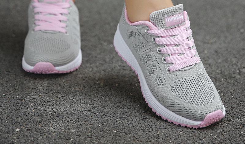 Fashion Breathable Mesh Flat Sneakers Casual Shoe Calzado Deportivo Mujer