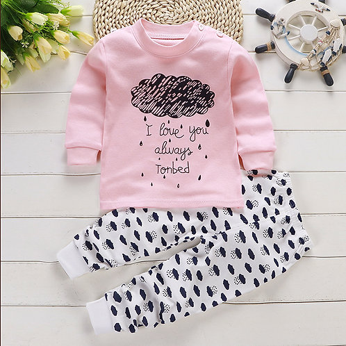 Long-Sleeve T-Shirt + Pant Suit Girls Clothing Set Children Clothing