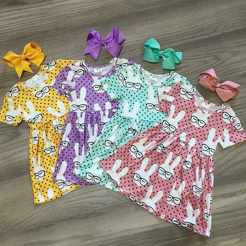 Dress Bunny Sunglass Short Sleeve Knee Length Match Bow