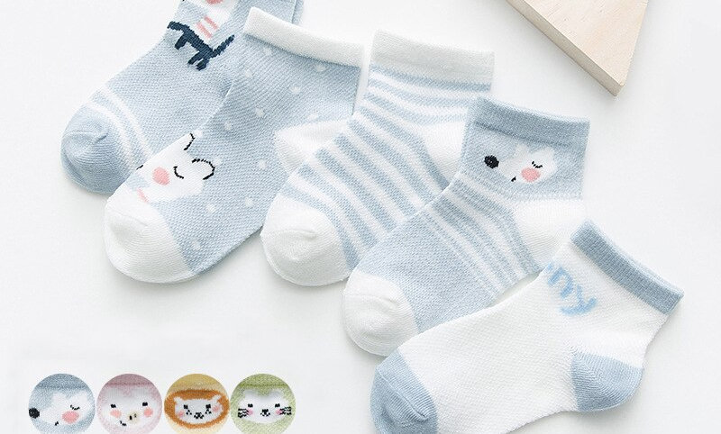 5/pair Mesh Cute Newborn Boy Toddler Socks Baby Clothes Accessories