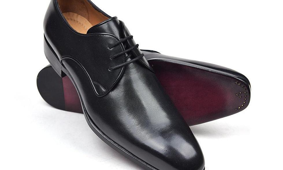 Paul Parkman Men's Black Leather Derby Shoes (ID#34DR-BLK)