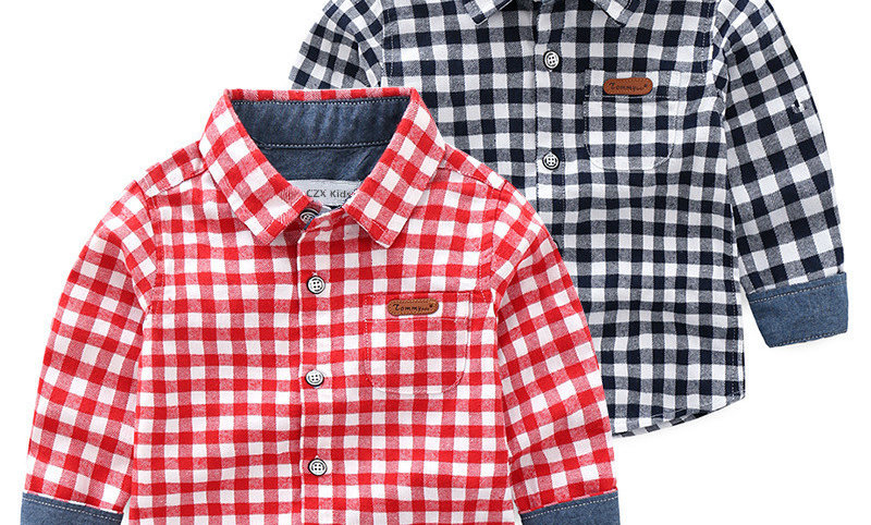 Collar Flannel Fabric Boys Shirts for 3-10 Years Old Kids Wear Clothes
