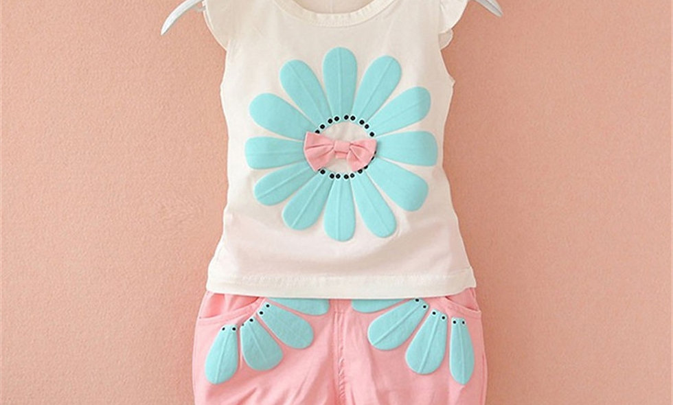 Flower T Shirt Shorts Bebe Newborn Children Girl Clothing 1 2 3 Years