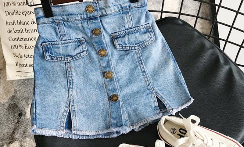 Denim Skirt Modis Button Jeans Skirt Culottes Short Girls