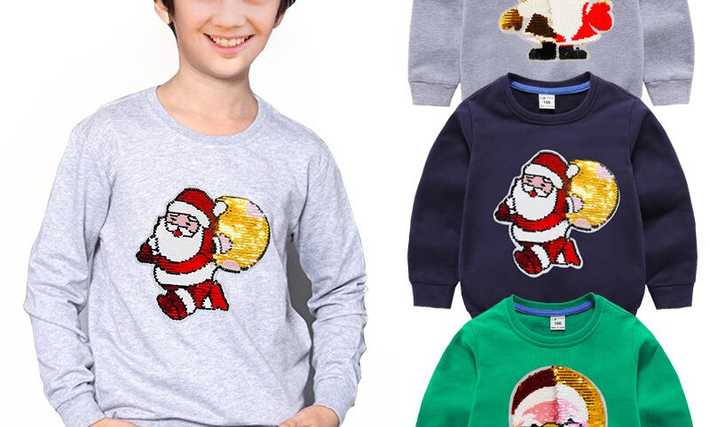 Sequin Long Sleeves Sweater Kids T-Shirt Pullover Christmas Clothes