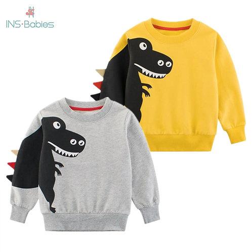 Print Cartoon Child Dinosaur Fashion Sweatshirt Spring and Autumn