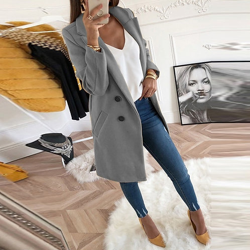 Sleeve Fashion Oversize Warm Woolen Coat