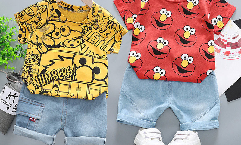 Boy Printed T-Shirt +Shorts 2 Pcs Children Clothing