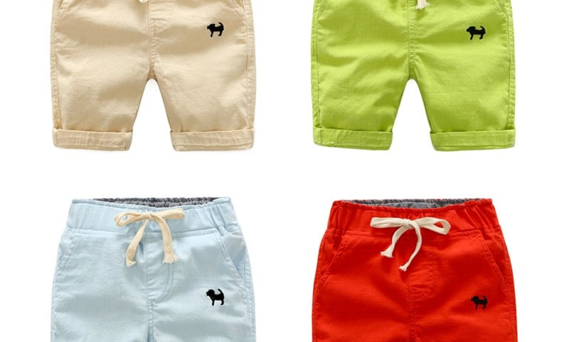 Waist Pants Toddler Kids Knee Length Pants Solid Color Baby Boys Clothes