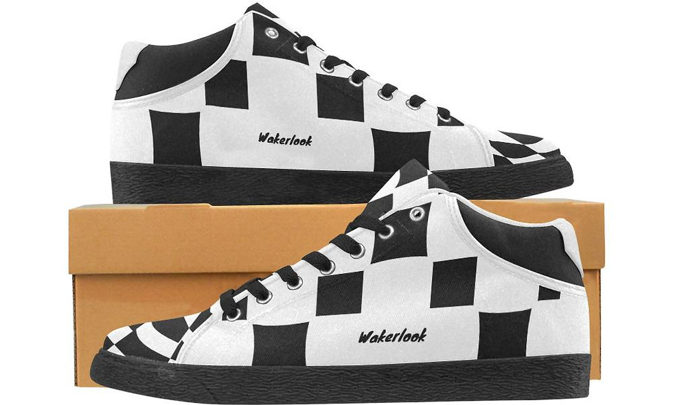 Black and White Wakerlook Canvas Men's Shoes