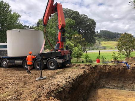 2 x 25000L water tank install