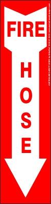 Fire Hose Vertical Arrow Safety Sign